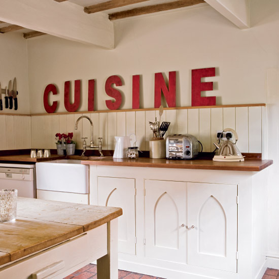 Fresh French Country Kitchen Design Large Cut Out Letters Painted In