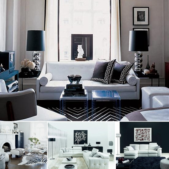 White and black room ideas apartments i like blog for Pictures of black and white living room designs