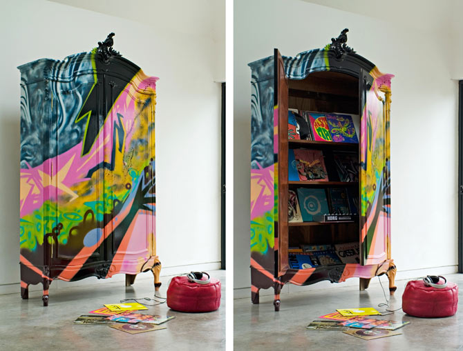 Hereu0027s A Creative Ideau2026why Not Find An Antique Armoire And Paint It  Yourself? Or Consider This French Armoire Hand Painted In Contemporary Art  Found At ...