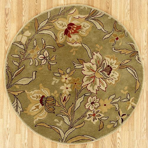 Dhara Tufted Wool Round Rug in floral green found at Bizrate .