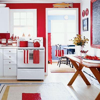red and white country kitchen home decorating ideas ForRed White And Blue Kitchen Ideas