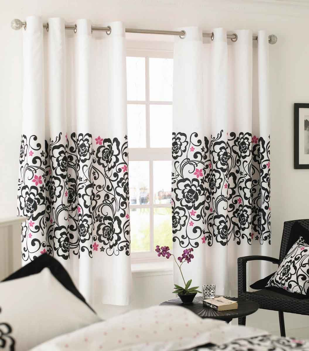 White black and pink decor apartments i like blog for Black and white curtain designs
