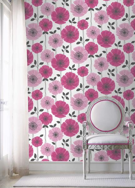 Pink/white/black Poppie Wallpaper via Decor Supplies.