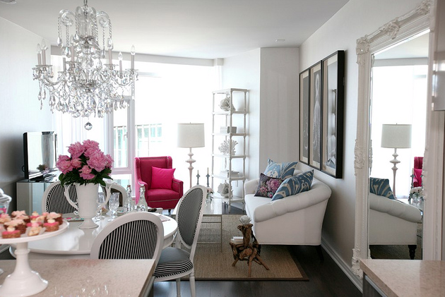 White black and pink decor apartments i like blog - Black and white living room ...