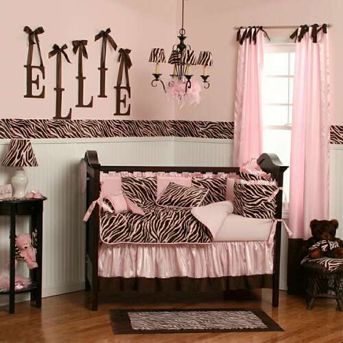 Pink and brown baby girl zebra crib bedding is made in the usa by c