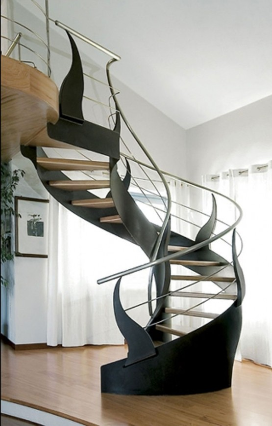 The indomitable spiral staircase apartments i like blog - Modern interior design with spiral stairs contemporary spiral staircase design ...