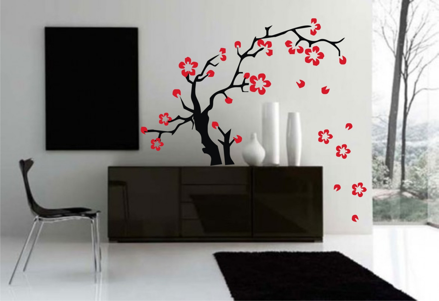 Japanese style decor apartments i like blog for Black and white rose wall mural