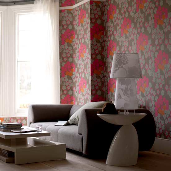 Spring into floral prints allentown apartments for Wallpaper for living room modern