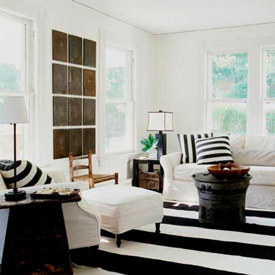Striped decor apartments i like blog - Black white striped carpet ...