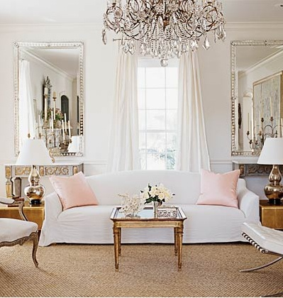 Chic French White Living Room With Stunning Gold And Metal Touches