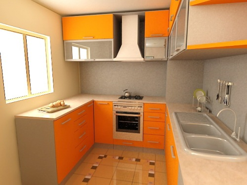Mac-n-cheese yellow cabinets make this apartment kitchen sun-filled ...