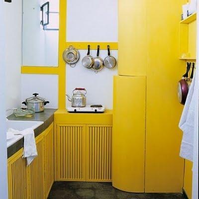small yellow kitchen