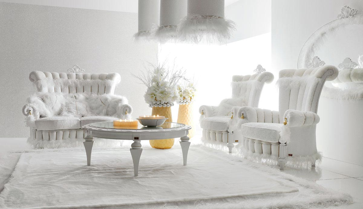 textures and the yellow accents in this white luxury room with all