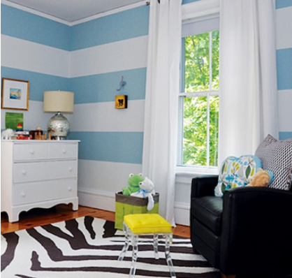 Striped interiors apartments i like blog for Painting stripes on walls in kids room