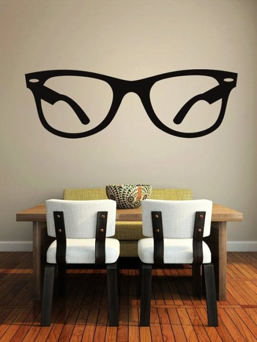 hipster wall decal glasses