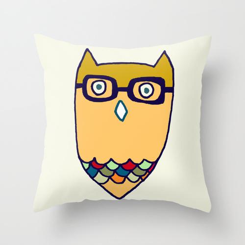 owl hipster throw pillow by cat-insch