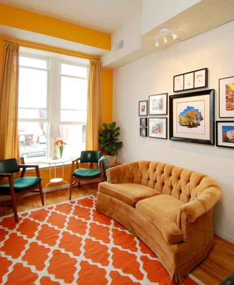 Yellow and orange rooms apartments i like blog for Living room yellow color