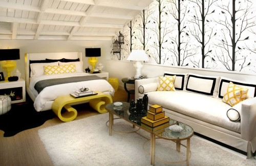 modern-bedroom-ideas-in-attic-house-with-tree-wallpaper-and-ywllow-accent
