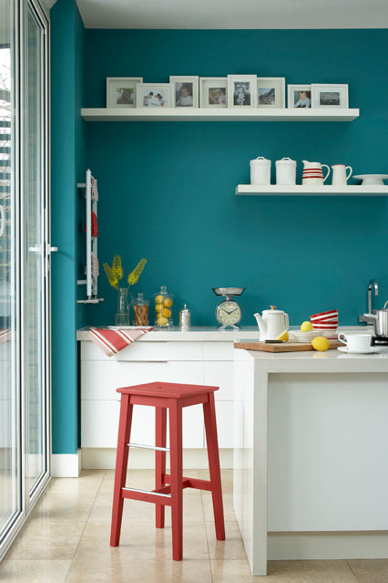 teal kitchen wall