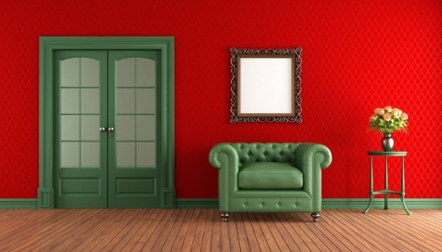 Red-walls-green-sofa-in-living-room