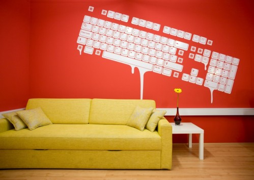 orange wall with decal