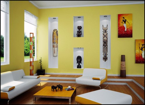pretty-yellow-living-room-idea-with-african-art
