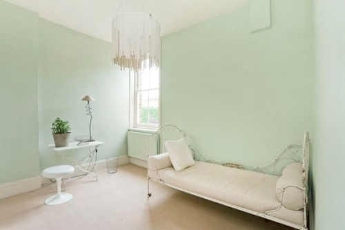 white and pale green decor