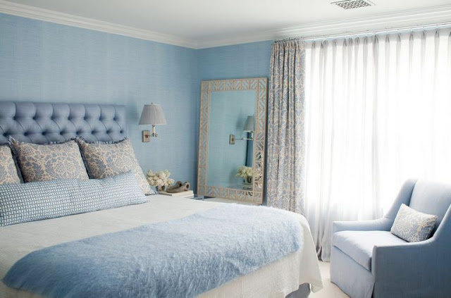 swooning over this vintage style pale blue bedroom designed by