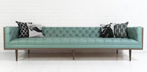 pale blue leather sofa