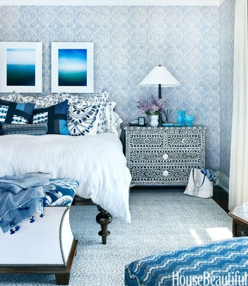 blue and white bedroom with a flare of moroccan decor from house